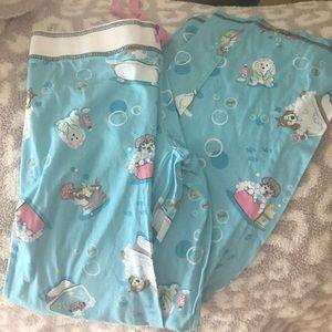 NWOT PJ salvage blue bubble bath dogs pants